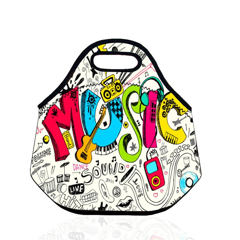 B238 3D Lunch Bag Music Note Thermal Insulate Cooler Waterproof Neoprene Picnic Bag Food Storage Bag Kids Snack Bag(China (Mainland))