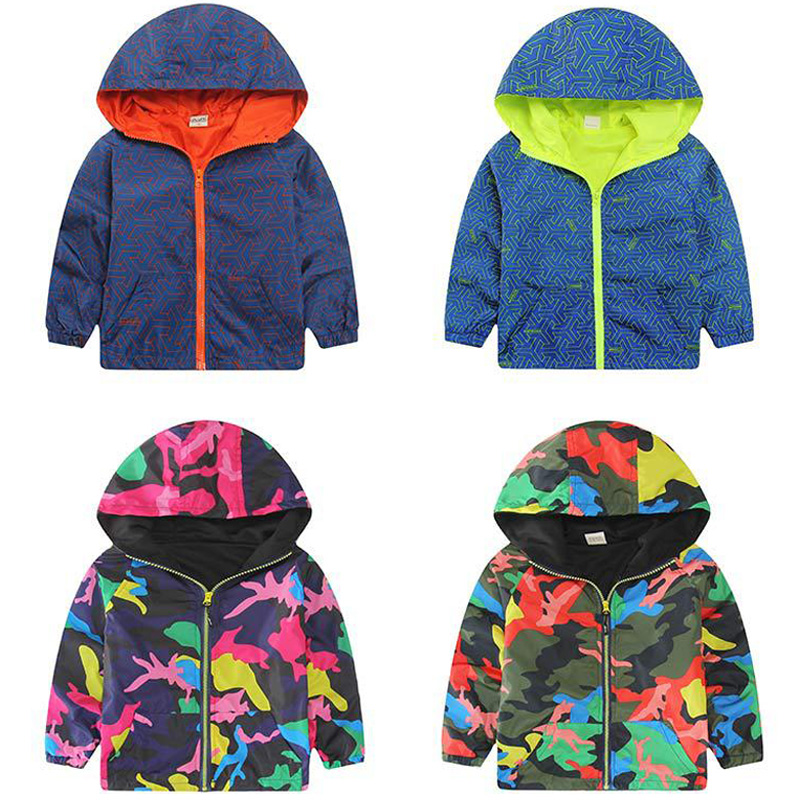 Hooded Boys Jackets Sport Camo Coats For Baby Boys Outerwears 1-8Y Children's Jackets Autumn Fluorescent Outdoor Windbreak SC142(China (Mainland))
