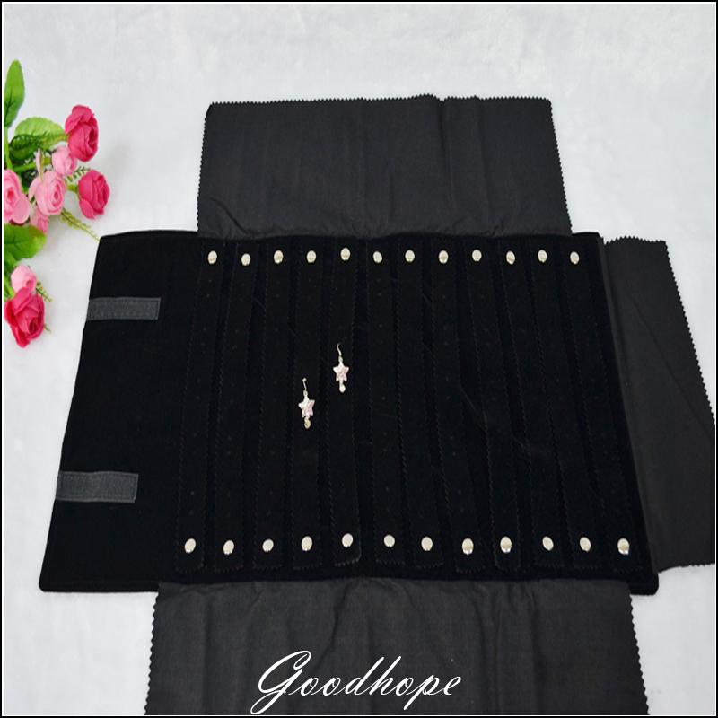 Portable Organizer Soft Bag Foldable Black Velvet Jewelry Travel Stud Earrings 60Pairs Storage Jewelry ROLL up Bag Carring Case(China (Mainland))