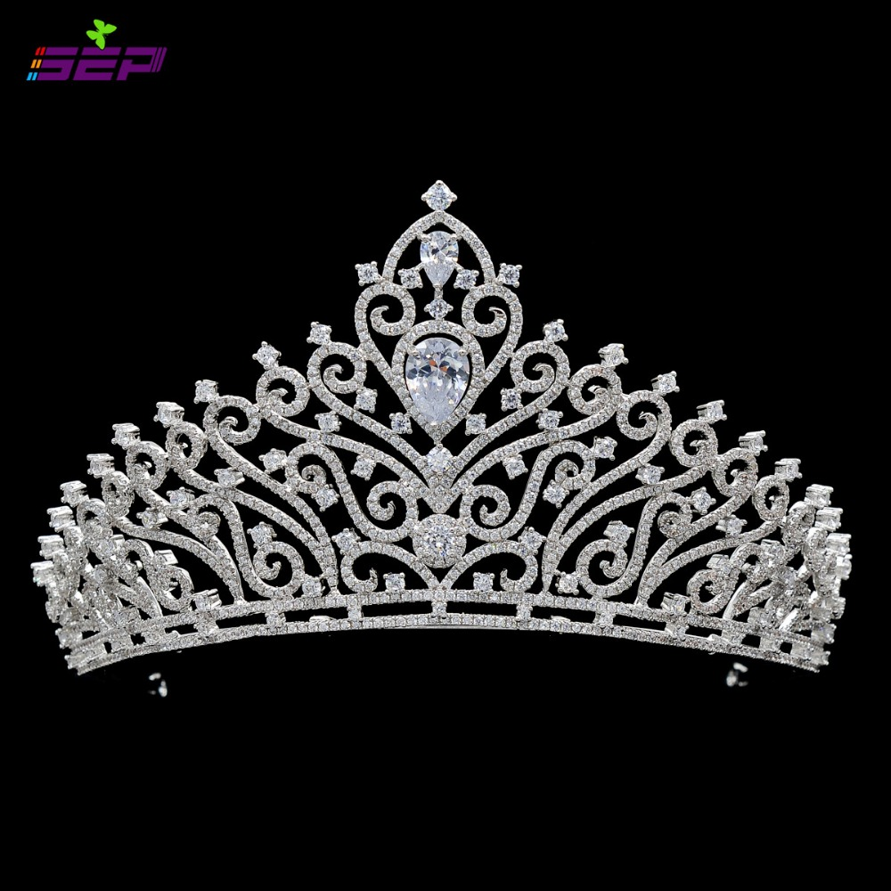 Full AAA CZ Tiara Handmade Pave Crown Bridal Wedding Hair Jewelry Accessories Women Pageant Crown TR15091(China (Mainland))