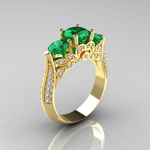 Emerald cut zircon wedding ring yellow gold plated green cz engagement ring women 18k gold emerald ring(China (Mainland))