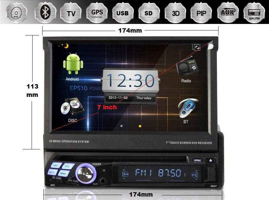 7 Inch 1 Din Android 4.0 OS Universal Car DVD Player,BT,Touchscreen GPS Navigation,Radio,Free WIFI Dongle(China (Mainland))