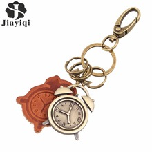 Hot Brand Fashion Bronze Clock Keychain Bag Pendant High Quality Charm Car Key Chain Holder Jewelry(China (Mainland))