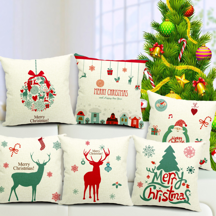 NEW Merry Christmas Cotton Linen Cushion Cover 17.7'' Square / Xmas Home Hotel Bar Restaurant Chair Decorative Cushion Covers