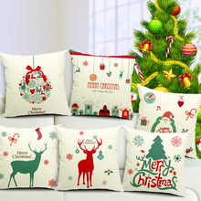 Buy NEW Merry Christmas Cotton Linen Cushion Cover 17.7'' Square / Xmas Home Hotel Bar Restaurant Chair Decorative Cushion Covers for $5.90 in AliExpress store