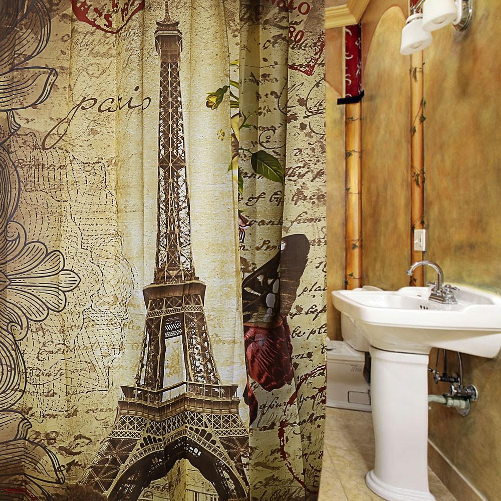2018 Wholesale Paris Eiffel Tower Waterproof Polyester Bath Shower ...
