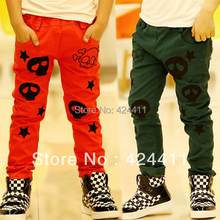 new 2014 spring and autumn boys clothing Skull pants 100%cotton male child long trousers kids casual pants skinny pants 100-130(China (Mainland))
