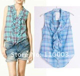 color grid sleeveless shirt  A621