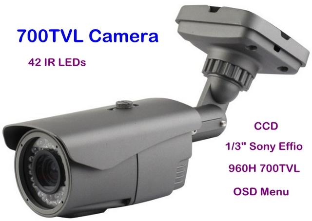 "Security 1/3"" Sony Effio-E  CCD 960H 700TVL OSD Menu 42 IR  with 2.8-12mm Manual Zoom Lens Waterproof Camera Free Shipping"