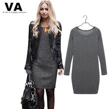 VA 2015 Winter Casual T Shirt Dress Women Big Plus Size XXL Women's Dresses Clothing Cotton Long Sleeve Large Clothes(China (Mainland))