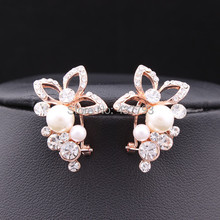 Wholesale New Jewelry 18K Rose Gold Plated Crystal Rhinestone Pearl Flower Grape Stud Earrings High Quality E151(China (Mainland))