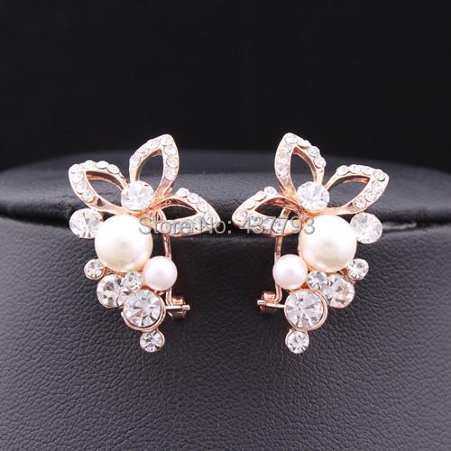 Ювелирные изделия 18 k покрытие из розового золота кристалл горный хрусталь