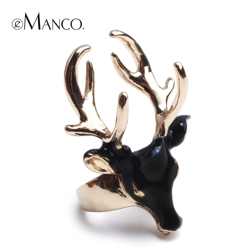emanco Black deer head split ring 2015 new trendy animal gold plated men Ring Copper Alloy big rings for women RG02741(China (Mainland))