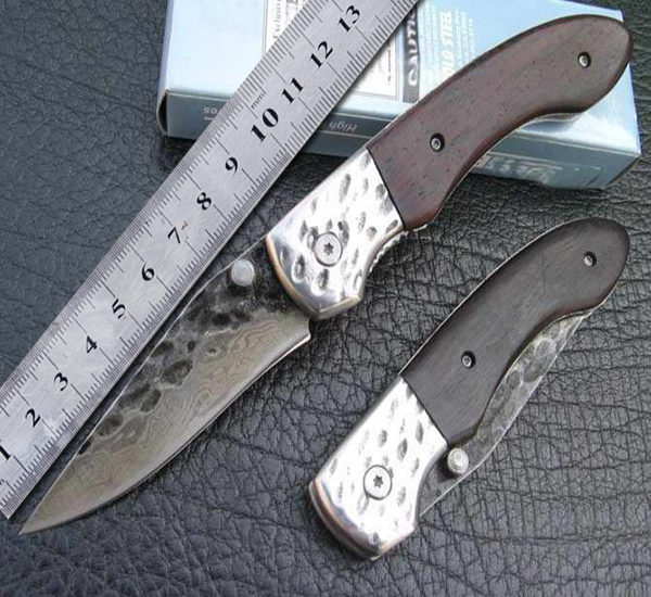 High-carbon stainless Handmade Pattern steel 2 Damascus Knife Outdoor Camping Equipment Custom Forged Steel Pocket Folding Knife(China (Mainland))
