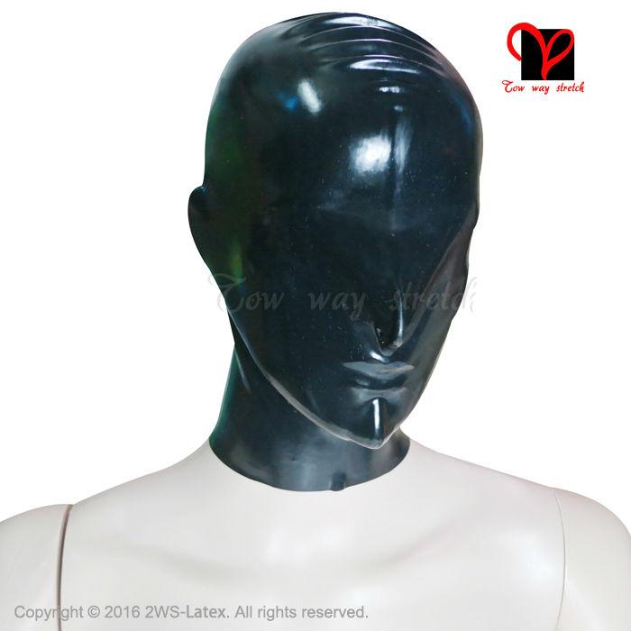 Anatomical Latex Hoods Rubber Masks Zipper open nose Headgear Fetish Bondage no eyes mouth full face Rubber Hoods Latex Masks(China (Mainland))