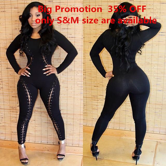 2014 nightclub overalls denim bodysuit women black o neck plus size