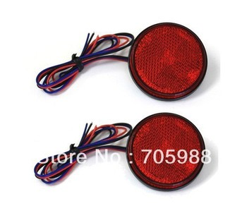2*Red LED Reflectors Round Brake Light Universal Motorcycle Car Truck led  Brake Lights