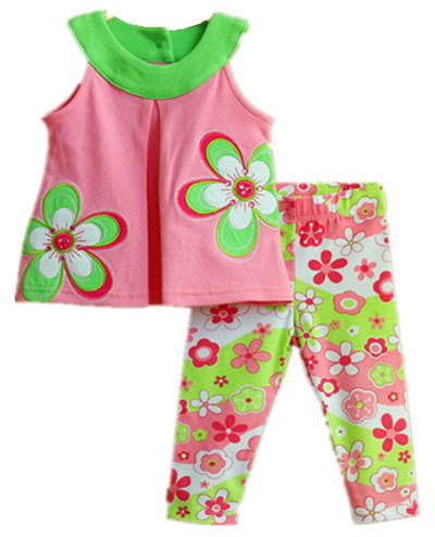Free Shipping 6sets/lot Rare Editions 6M-3T Baby Girls Embroidery Flower Swing Vest Top and Floral Legging Set<br><br>Aliexpress
