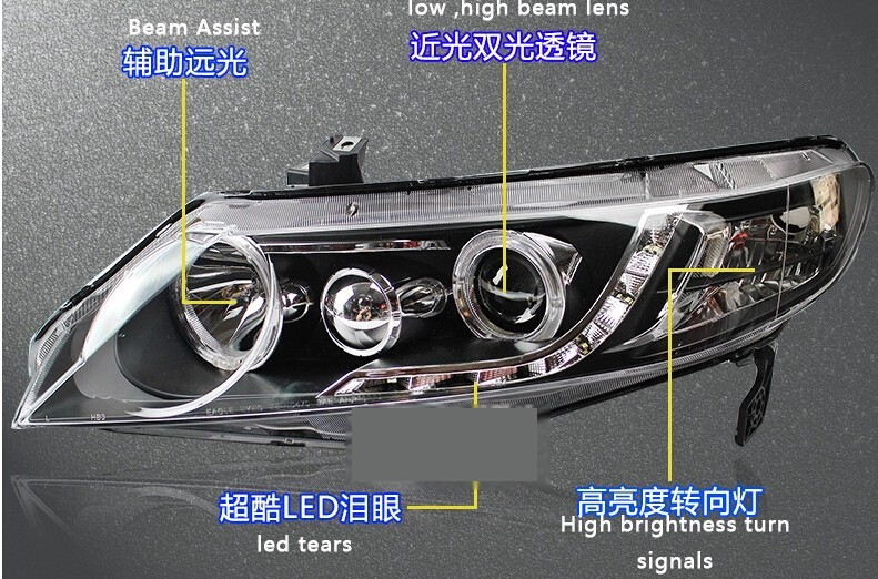 Auto Clud For Honda Civic led headlights xenon for Honda Civic 2006-2011 car styling LED guide DRL+H7 HID Kit+Q5 bi xenon lens