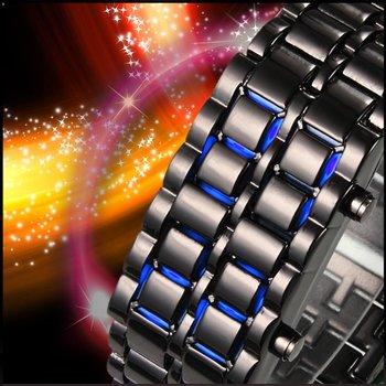 Fashion LED Metal Lava Iron Style Red &Blue Light Unisex Watch Best Selling  LED1024