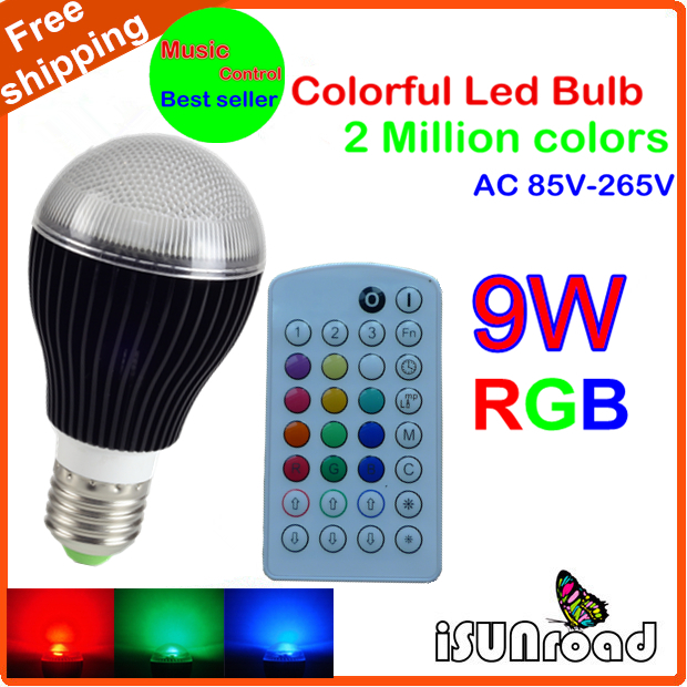 2015Time-limited 1pcs Isunroad 9W E27 RGB Led Bulb with 30 Keys Remote Control ,2 Million Colors,Music-Controlled, free Shipping(China (Mainland))