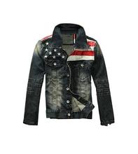 2015 American flag denim jacket for men Fashion motorcycle coat jacket denim outdoor coat(China (Mainland))