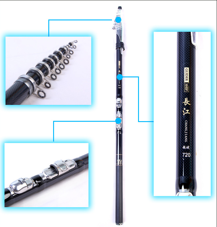 7.2m Fishing Rods Carbon Telescopic Rods Spinning Fishing Tackle 6.3M 5.4M 4.5M 3.6M