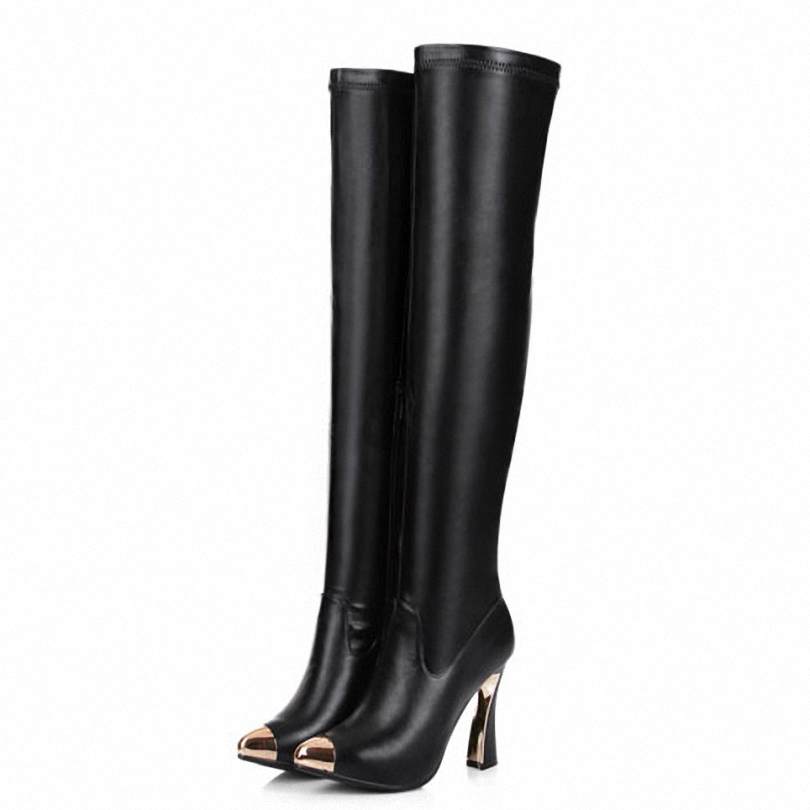new Pointed Toe new fashion brand fashion sexy motorcycle boots high heels over the knee boots women winter long leather shoes<br><br>Aliexpress