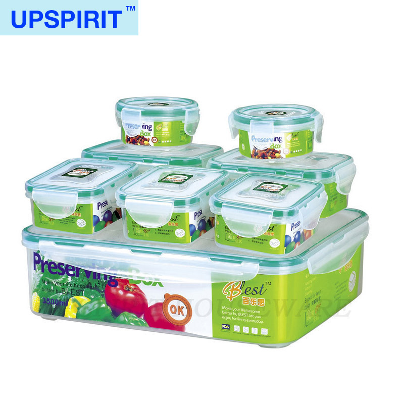 Home plastic storage box 8pcs/set microwavable food container kitchen organizer bento lunch box caixa organizadora vacuum boxes(China (Mainland))