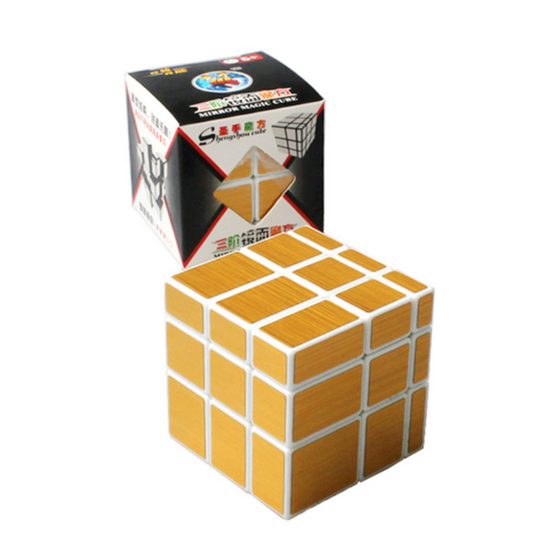 New Magic Cube 3x3x3 ShengShou Mirror Stickerless Speed Puzzle Gold&Silver Cubo Magico Profissional Learning & Education Toys(China (Mainland))