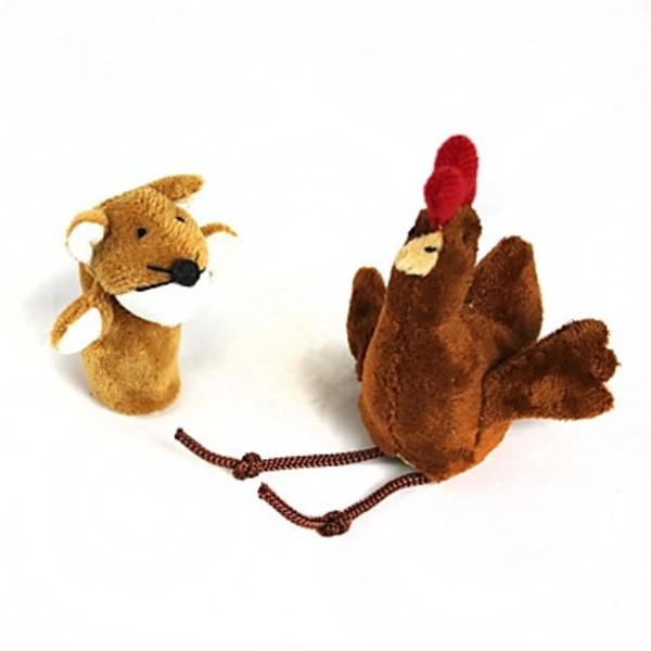 Dreamstar Finger Sleeve Chicken + Fox Plush Doll(2 Pcs)(China (Mainland))