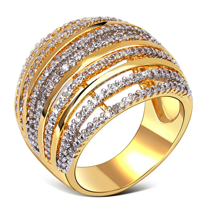 Hollow Design Women Fashion Rings 18k Real Gold Stripe Pattern Top Quality Cubic Zircon Setting Party Ring Lead Free L&Y12315(China (Mainland))