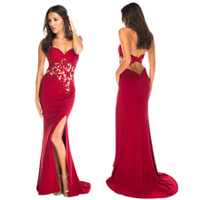 Sweetheart Red Long Prom Dresses 2016 Sexy Open Back Mermaid Sleeveless Chiffon Side Split Evening Party Celebrity Gowns(China (Mainland))