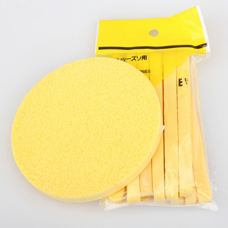 6 Pairs Yellow Compressed Sponge Foam Mat Pads Cleaning Wash Puff Sponge Stick Face Cleansing Skin Care(China (Mainland))