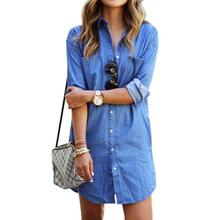 Новинка 2016 джинсовые рубашки мини платье женщины свободного покроя с отложным воротником грудью винтаж блузка дамы весна топы синий