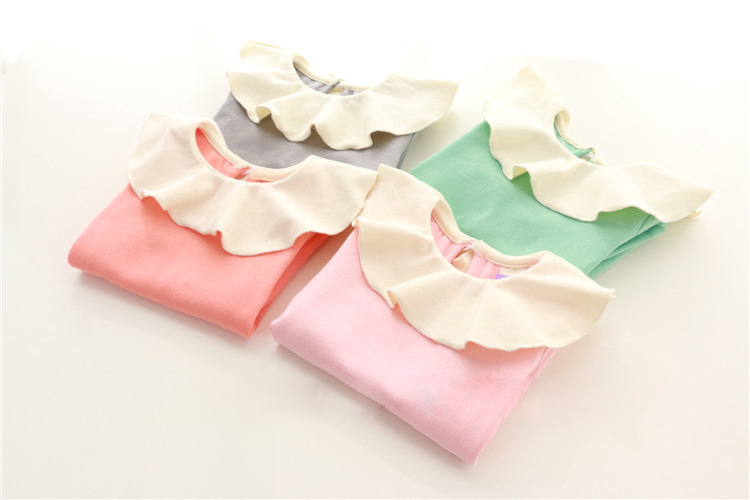 2016 Babies Girls T shirt Peter pan Collar Bottoming Shirts Spring Girl Top Kids Children Girl Blouse infant girl clothing