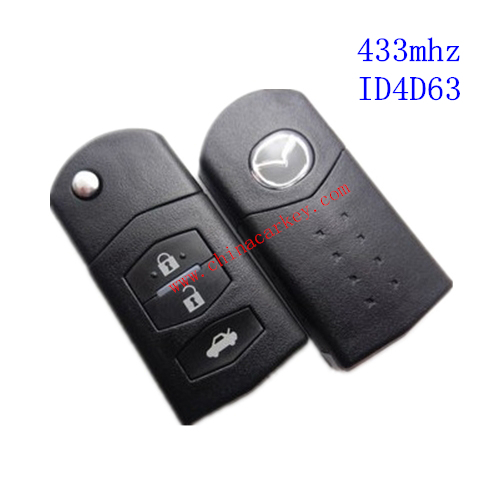 Free shipping fast delivery 5pcs/lot new 3 buttons 4D63 Mazda remote key with 433mhz(China (Mainland))