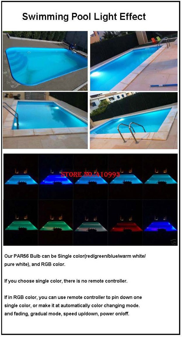 par 56 led piscine 24W 36W RGBW swimming pool led 48W 60W 72W warm white cold white