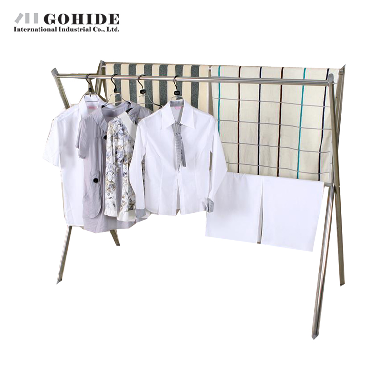-GOHIDE X-type coat rack / stainless steel racks / floor folding drying racks / telescopic hangers / cool clothes rack free ship<br><br>Aliexpress