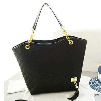 New Hotsale brand PU Leather handbag for women vintage women shoulder bag chains black canvas tote bags designer women satchel