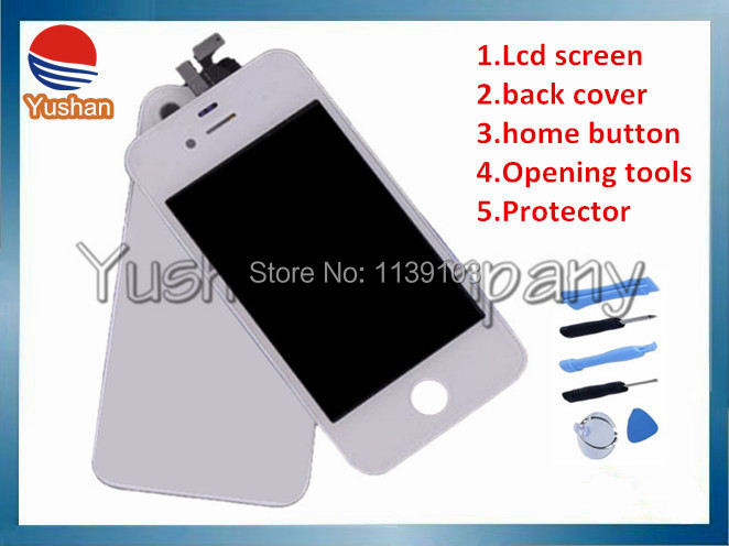 Free shipping Lcd Back Cover Kit for Iphone 4 4G 4S LCD Display+Touch Screen Digitizer +Frame,white and black,100% gurantee(China (Mainland))