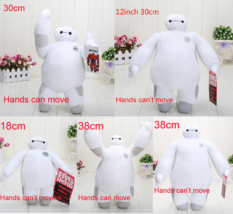 18-38cm 5styles big hero 6 soft plush stuffed doll baymax hands can move and hands can't move plush toy(China (Mainland))