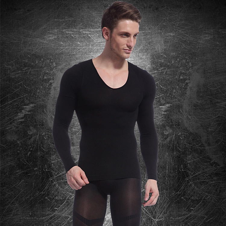 High Quality Body Shaper Men's Thermal Underwear Germanium Titanium Silver Heating Function Long-sleeve Top Shirt(China (Mainland))