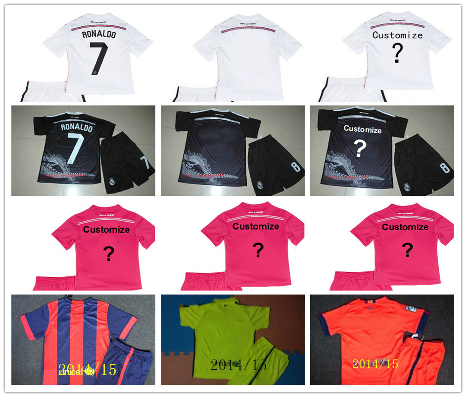 Soccer Jerseys Real Madrid messi Kids Black Dragon RONALDO Away Pink Real Madrid Kids 14 15 Boys Sets Youth Kit Shirt+Short(China (Mainland))