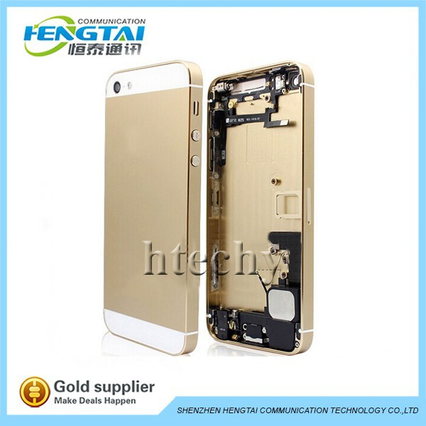 replacement for apple iphone 5 5g full housing metal alloy back cover+flex cable+buttons assembly 1 piece free shipping(China (Mainland))