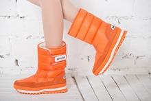 2016 Venta Caliente de Las Mujeres Botas de Nieve con la Superficie A Prueba de Agua y cómodo TPR suela de Invierno de calentamiento con Hebilla de Zapatos de Color Naranja(China (Mainland))