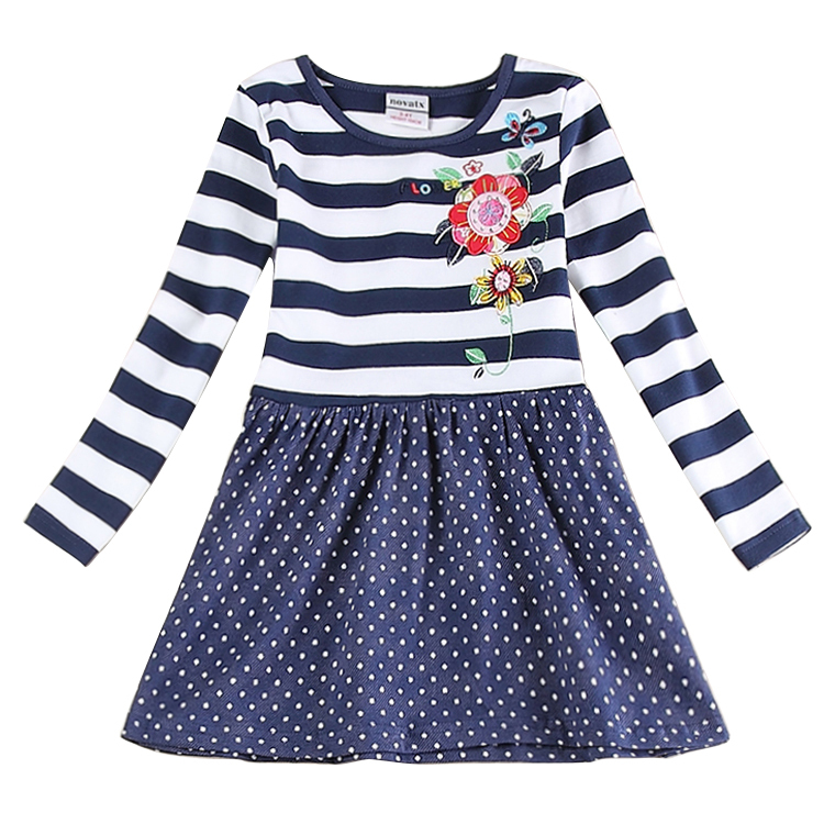 Girl Dress Baby Clothing Princess Dresses Nova Brand Kids Clothes Stripes Polka Dots Girls Fashion Party H5903