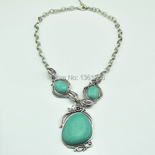 N8 Green Turquoise Stone Natural Stone Necklace Pendant Jewlery Women Vintage Look Tibet Alloy free shipping