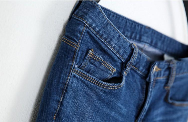 2016 Spring Summer Autumn Plus Size Cotton Scratch Decorate Women Jeans High Waist Pencil Bottom Blue Color Long Pants XL- 5XL
