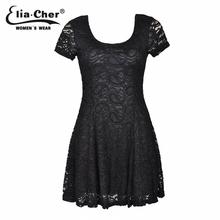 Summer Lace Dress 2015 chic Black women dresses Eliacher Brand Plus Size casual summer women clothing vestidos(China (Mainland))